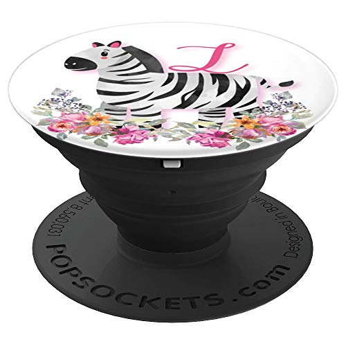 Cute Zebra Pink Flowers Monogram Name Initial Letter L - PopSockets Grip and Stand for Phones and Tablets