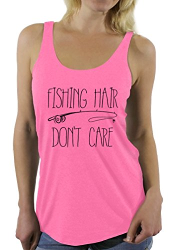 Price comparison product image Awkward Styles Women's Fishing Hair Don`t Care Racerback Tank Tops With A Fishing Rod Pink L