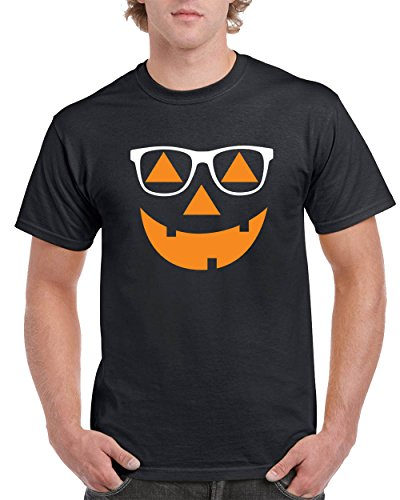 Most Popular Halloween Costumes Hipster Jack O Lantern Men's T-Shirts Crew Neck Tee Shirts Men(Black,X-Large) -
