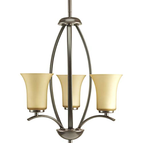 - Progress Lighting P3587-20 Joy Collection 3-Light Foyer Pendant, Antique Bronze