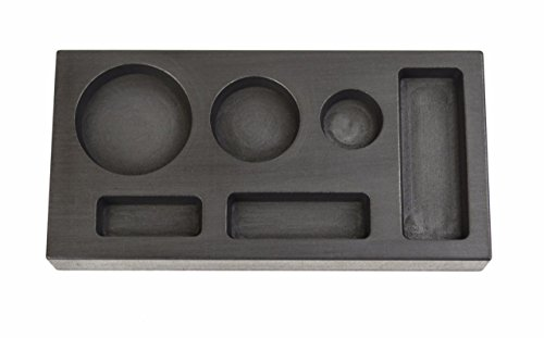 6-in-1 Gold Graphite Ingot Mold 1/4, 1/2, 1 Troy Ounce Multi-Cavity Combo Mold Melting Casting Refining Scrap Precious Metal (Graphite Ingot Mold Silver)