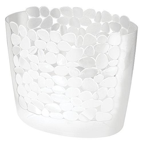 Wastebaskets Kids (mDesign Decorative Slim Oval Small Trash Can Wastebasket, Garbage Container Bin for Bathroom, Powder Room, Bedroom, Kitchen, Kids Rooms, Craft Room, Office - Pebble Design, Clear)