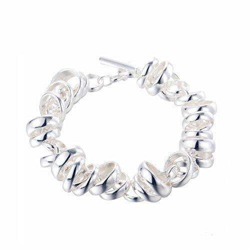 SILVERAGE Bracelet Argent 925 Avec Multi Anneaux 20cm