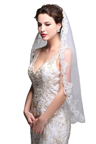 (GEORGE BRIDE Simple Elegent Lace Appliques Wedding Veil One Size With Comb)