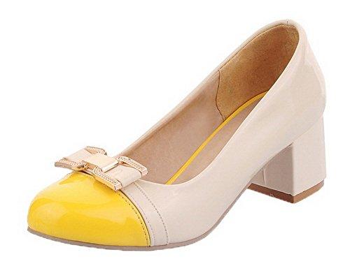 Odomolor Women's Kitten-Heels Assorted Colors Pu Round-Toe Court Shoes Yellow 3QfOOECvi