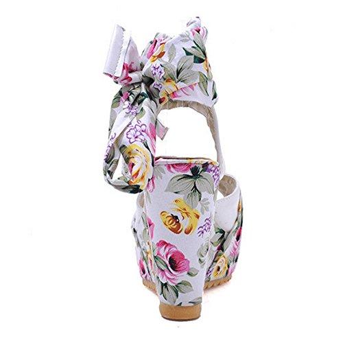TAOFFEN Women Fashion Peep Toe Floral Wedges High Heel Slingback Buckle Sandals Beige 6FLe4xnCpi