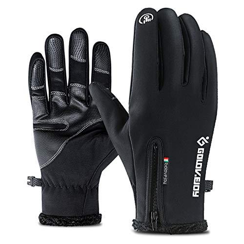 Cevapro Cycling Gloves, Touchscreen Waterproof Warm Winter Gloves Outdoor Running Climbing Skiing Glove for Men Women (Black, (Racing 2 Slip Ons)