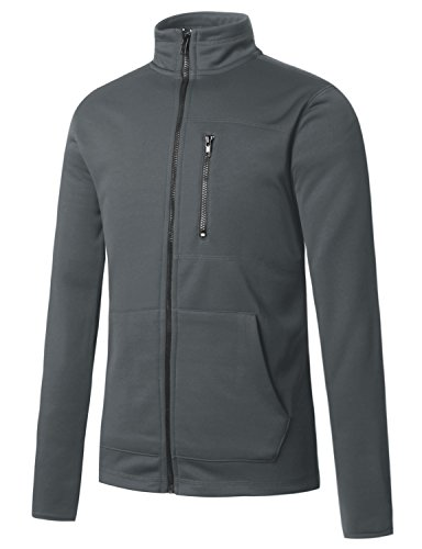 REGNA X Man's Zip Pockets Casual Grey 3XL Plus Tall Fleece Chest Zip Pocket Jackets (Fleece Screen Zip)