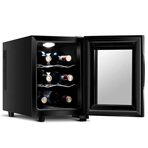 LHONE Mini Wine Cooler Fridge Freestanding Refrigerator Chiller Counter Top Wine Cellar with Digital Temperature Display Quiet Operation Fridge Black (6 Bottle)