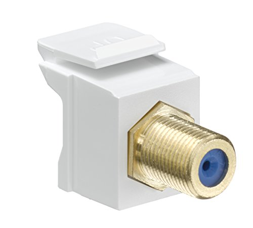 Leviton Flush Mount Wall Plate (Leviton 40831-BW QuickPort F-Type Adapter, Gold-Plated, White)