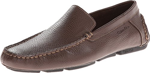 Calvin Klein Men's Menton Med Brown Tumbled Leather Loafer 44.5 (US Men's 11) - Loafers Leather Mens