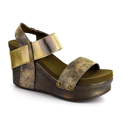 - Corkys Platform Womens Thick Leather Strap Wedge Heel Sandal (9 M US, Bronze)