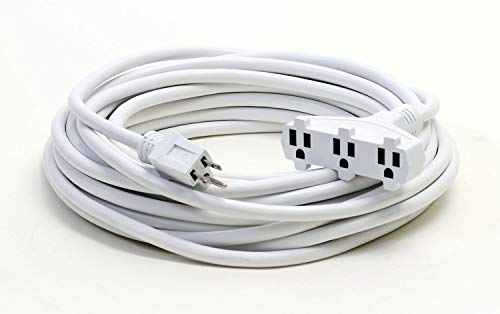 25-Foot 12/3 White Triple Tap Outdoor Extension Cord - Your Name on Cord
