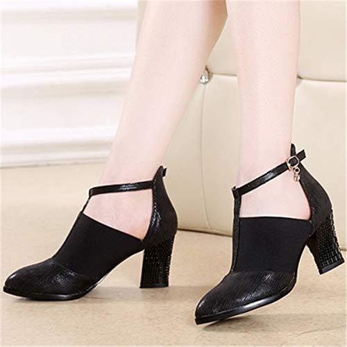 5cm Zapatos Adulto Altura Latin a Stretch 5cm Size Shoes Rayado Cloth Negro Hutt 7cm Soft de Dance de 25 Cuero Mujer Baile 22 Verano a7OIwqd