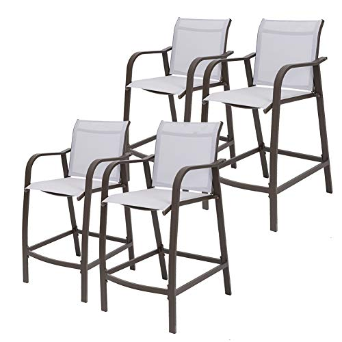 Crestlive Products Counter Height Bar Stools All Weather Patio Furniture with Heavy Duty Aluminum Frame in Antique Brown Finish for Outdoor Indoor, 4 PCS Set (Light Gray) (Stool Gray Garden)