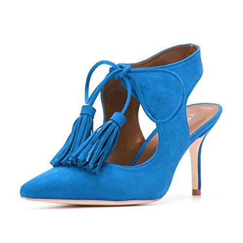 enjoy for sale YDN Women Sexy Pointed Toe Low Heel Pumps Slingback Lace-up Stilettos Dress Shoes With Tassels Blue clearance classic buy cheap exclusive FF3ARxuyvP