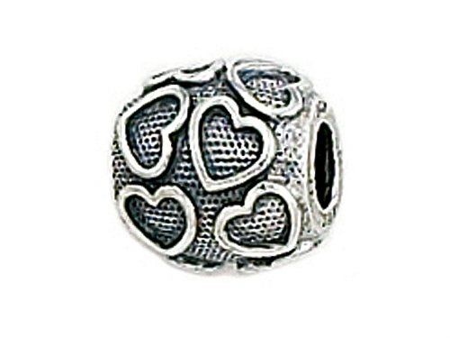 Zable Sterling Silver Floating Hearts Bead / Charm Heart Zable Bead