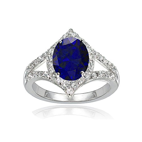 (LOVVE Sterling Silver Created Blue Sapphire & White Topaz Oval Fashion Split Shank Ring, Size 6)
