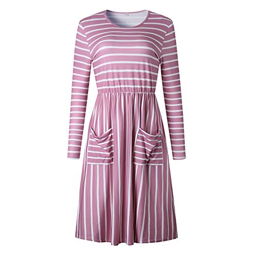 Alaix de manga larga bolsillos rosados larga manga redondo de cuello casual Vestido y con aqn1wXrZa