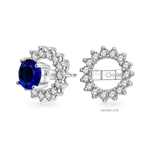 Earring Zirconia Cubic Jackets - Cubic Zirconia AAA CZ Round Halo Earrings Jackets For Studs 925 Sterling Silver For Women Earrings Not Included