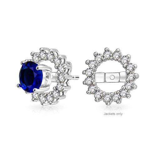 Earring Cubic Jackets Zirconia - Cubic Zirconia AAA CZ Round Halo Earrings Jackets For Studs 925 Sterling Silver For Women Earrings Not Included