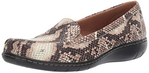 Synthetic Snake - CLARKS Women's Bayou Q Loafer Beige Synthetic Snake Print 95 W US