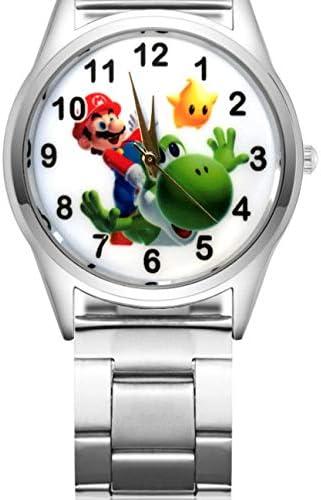 YangQian Montre pour Enfants Super Mario Cute Cartoon Pretty Mario Style Montres pour Enfants Filles Étudiantes Garçons Quartz Metal Steel Wrist Watch