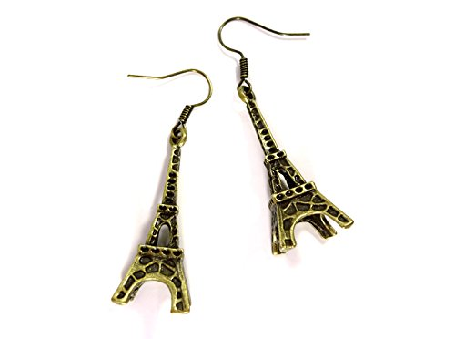 Eiffel Tower Earrings Paris Brass Toned Charms Dangling Pair Hooks for Pierced Ears