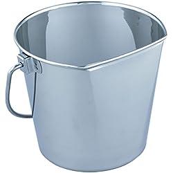 QT Dog Flat Sided Stainless Steel Bucket, 9 Quart
