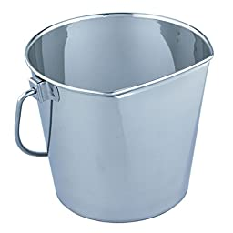 QT Dog Flat Sided Stainless Steel Bucket, 6 quart