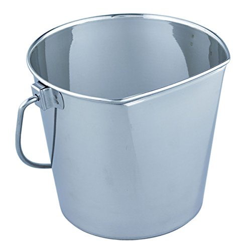- QT Dog Flat Sided Stainless Steel Bucket, 2 Quart