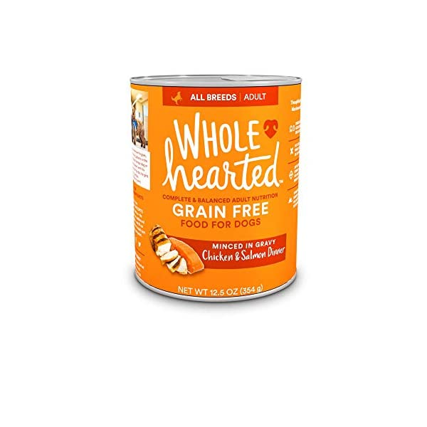 WholeHearted Grain-Free Adult Chicken and Salmon Dinner Wet Dog Food, 12.5 oz, Case of 8, 8 X 12.5 OZ