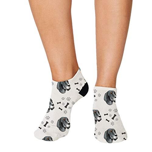Bluetick Coonhound Dog Breed Pattern #2 Men-Women Adult Ankle Socks Crazy Novelty Socks Polyester & Polyester Blend Single Sock - Breed Dog Coonhound