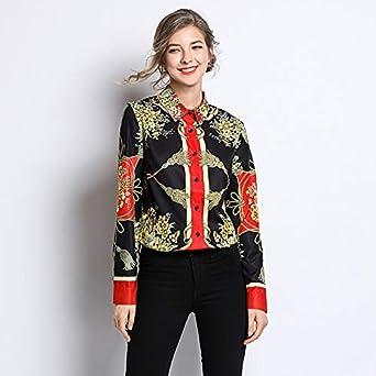 La Nueva Camisa de Primavera de 2019 para Mujer, Camisa Estampada de Manga Larga, era una Camisa pequeña extranjera Delgada, Color de Imagen, 2XL: Amazon.es: Ropa y accesorios