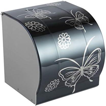 SDF25 ステンレス鋼の掘削インストール浴室のトイレットペーパーホルダー防水トイレットペーパーロールペーパースタンドウォールマウント、12x12x13cm (Color : Black)
