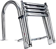 Amarine-made 4 Step Premium Stainless Folding Rear Entry Pontoon Boat Ladder w/Extra Wide Step