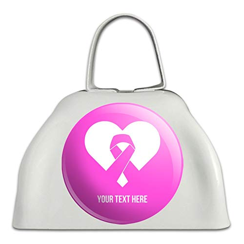 Personalized Custom 1 Line Breast Cancer Pink Ribbon Heart White Metal Cowbell Cow Bell Instrument