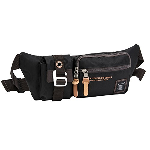 Fanny Pack with 4-Zipper Pockets, Waist Bag Travel Pocket with Adjustable Belt For Workout Vacation Hiking, For iPhone 6 6S Plus, Galaxy S4 S5 S6 S7 (brown)