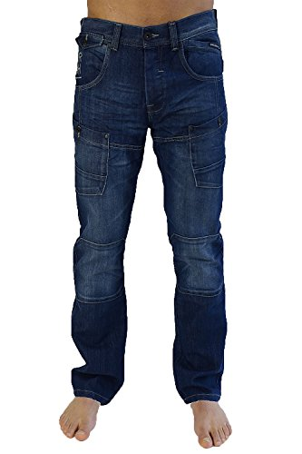 Cargo Lavado Medio By Lopes Crosshatch Vaqueros Militar Pernera Recta Hombre Denim OqwSP8E