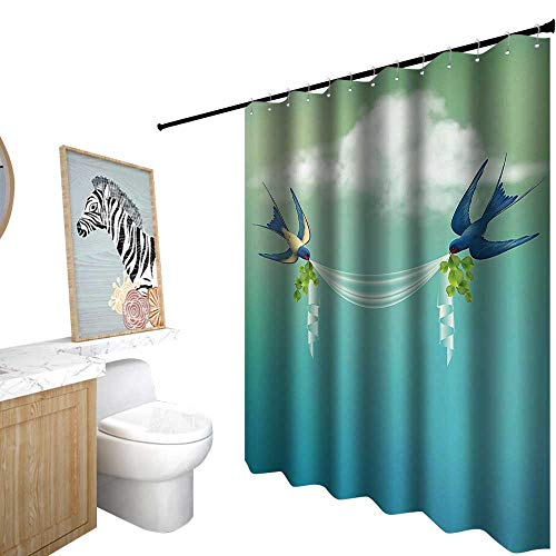 Shower Curtains for Bathroom Sets with Valance,Modern Decor,Wedding Themed Frame Sparrows Birds Clouds Ombre Design,Shower Curtains for Bathroom Sets,W36 x L72,Slate Blue Pale Green and -