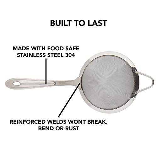 Fine Mesh Cocktail & Tea Strainer: Stainless Steel Conical Strainer by Top Shelf Bar Supply by Top Shelf Bar Supply (Image #3)