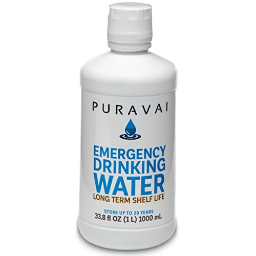 - Puravai Emergency Drinking Water, 100% Bacteria Free Drinking Water, Purified Emergency Water, 20 Year Shelf Life, Long Term Water Storage, 12-Pack of 1 Liter Bottles, Sturdy Reusable Canteen Bottles