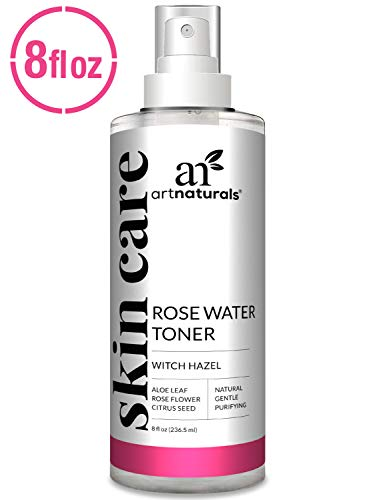 (ArtNaturals Rosewater Witch Hazel Toner - (8 Fl Oz / 236ml) - Anti Aging Pore Minimizer for Facial Acne - Aloe Vera, Rose Water Petal Alcohol Free - Natural Face Cleanser Spray - All Skin Types)