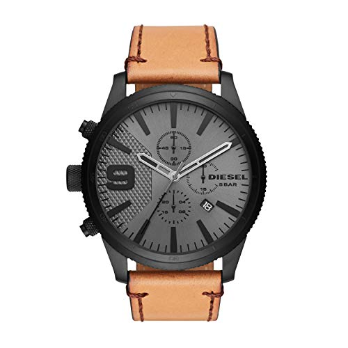 Diesel Brown Leather - Diesel Men's Rasp Chrono 50 Black IP and Brown Leather Watch DZ4468