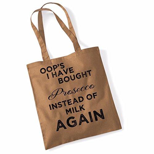 Printed Tote Bag Slogan Womens Gift Idea 100% Cotton Prosecco Instead of Milk Funny Beach Accessories Canvas Shoulder Bag - Natural Caramel