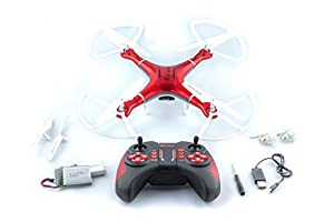 QCopter Drone Quadcopter w/HD FPV Wifi Camera BONUS Drones Battery and Crash Kit Included; (RED) from QS LLC
