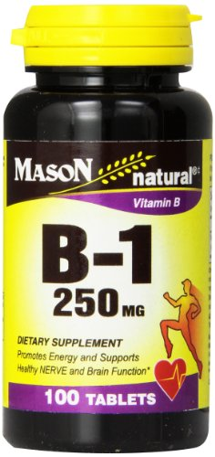 Mason Natural, Vitamin B-1 Thiamine Tablets, 250 Mg, 100-Count Bottle, Dietary Supplement Supports Energy Production and Healthy Metabolism, Helps Break Down Fats and Protein