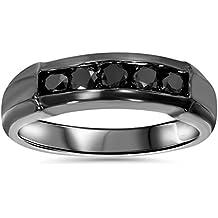 1/2ct Black Diamond Mens Wedding Band 10K Black Gold