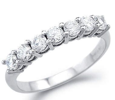 Superbe Size  4   Solid 14k White Gold Channel CZ Cubic Zirconia Wedding  Anniversary Band Ring