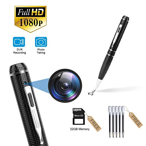 Spy Camera, Full 1080P Pen Camera for Recording and Taking Photos, Spy Camera Pen for Business, Conference and Security, Hidden Camera with 32GB Memory Card and 5 Pen Refills
